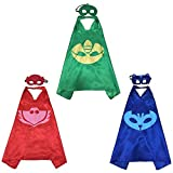 PJ Mask Super Team Kids Cape and Mask Costumes, 3-Set Gekko, Catboy and Owlette Costume Party Set, Superhero Party Favors