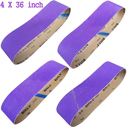 Sackorange 4 Inch x 36 Inch Metal Grinding Zirconia Sanding Belts - One Each of 40 80 100 and 120 Grits - Purple Regalite Resin Bond Cloth Sanding Belt, 4 Pack(4x36in) (Best Sanding Belt For Metal)