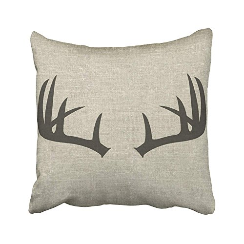 Decorative Deer (Accrocn Throw Pillow Covers Simple Fashion Popular Vintage Deer Antlers Silhouette Pattern Cushion Decorative Pillowcases Linen 16 x 16 Inch Square Pillowcase Hidden Zipper)