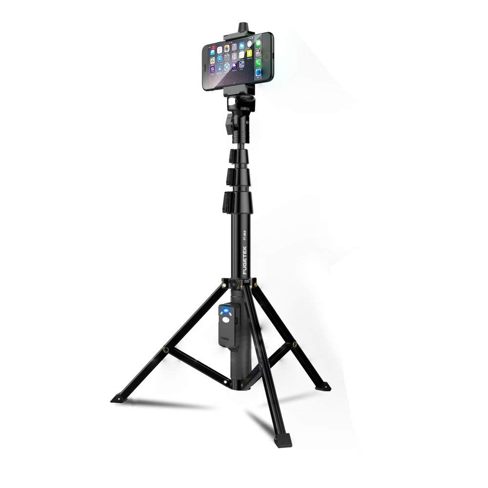 Selfie Stick & Tripod Fugetek, Integrated, Portable All-In-One Professional, Heavy Duty Aluminum, Lightweight, Bluetooth Remote For Apple & Android Devices, Non Skid Tripod Feet, Extends To 51'', Black