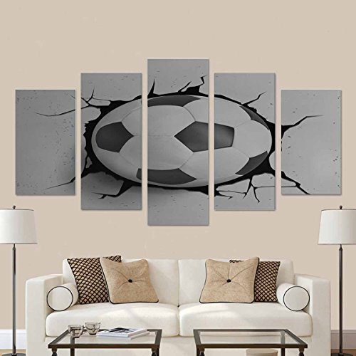 InterestPrint Sport Vector Illustration with Soccer Ball Coming in Cracked Wall Canvas Wall Art Prints - 5 Piece Oil Paintings on Canvas (No Frame) Set by InterestPrint