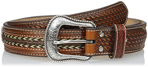 Nocona Men's Cross Concho Horse Hair Inlay, Tan, 36 (Nocona Concho)