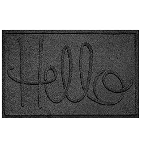 Aqua Shield Hello Doormat, 2u0027 X 3u0027, Charcoal