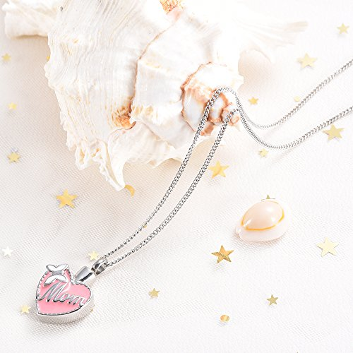 Butterfly Mom Engraved Heart Cremation Urn Necklace for Ashes Memorial Keepsake Pendant
