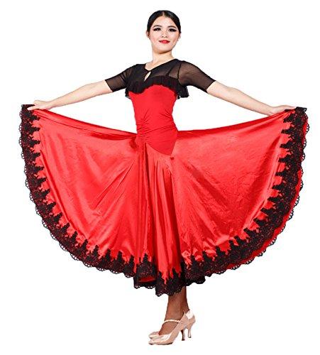 [Black Red Spanish Paso Doble Bullfighting Flamenco Dance Dress Performance Costume (XL)] (Paso Doble Costume)