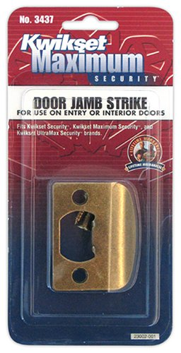 Kwikset 3437-01 5 CP STRK, SQ CNR FULL LIP Square Corner Strike Plate, Antique Brass