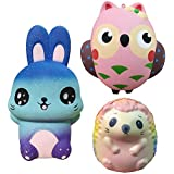 3 Pack Squishies Owl/Hedgehog/Rabbit, Slow Rising Jumbo Animal Set Squishy Toys Kawaii Cute Super Soft Vent Stress Relief Simulation Squeeze Toys for Kids Adults