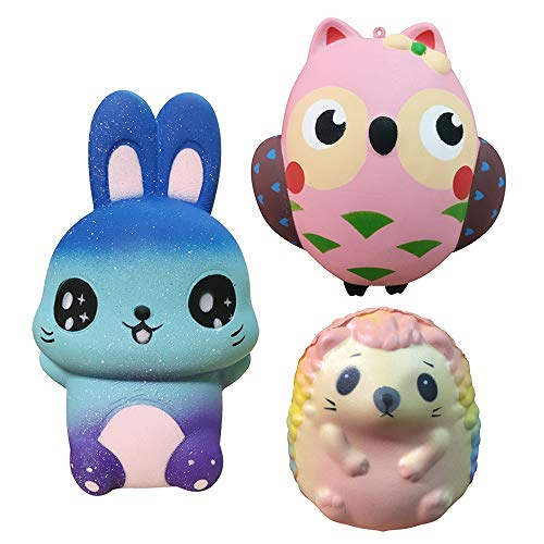 3 Pack Squishies Owl/Hedgehog/Rabbit, Slow Rising Jumbo Animal Squishy Toys Super Soft Cute Stress Relief Squeeze Toys for Kids Adults