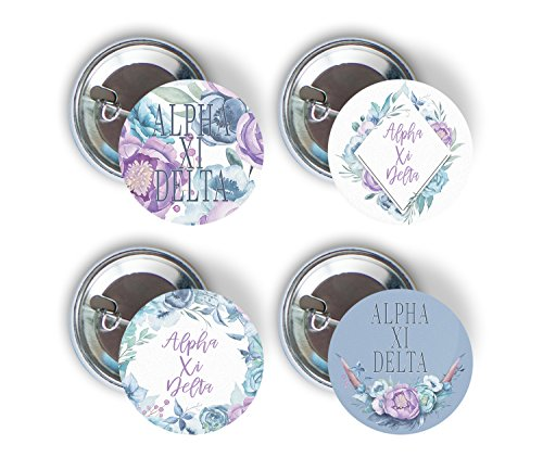 Alpha Xi Delta Sorority Purple Floral Variety Pack of Buttons Pin Back Badge 2.25-inch