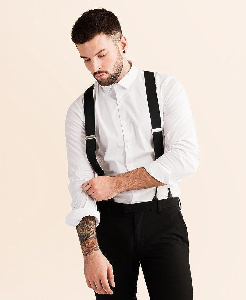 16ad7fb4189 Black Tuxedo Suspender Genuine Leather Clip Suspenders (Button Clip-on  Wide) at Amazon Men s Clothing store