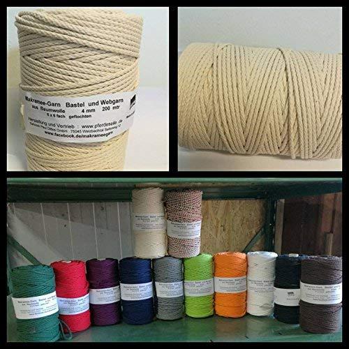 8e1fd4b0f224 Hilo de algodón hilo macramé washati hilo color 200 Meter: Amazon.es ...