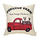 Fjfz Rustic Farmhouse Style Poultry Farm Vintage Red Truck Chicken Farm Spring Sign