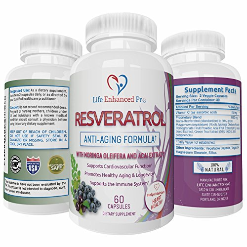 Life Enhanced Pro Resveratrol 1150mg Trans Resveratrol Pure Blend - Non-GMO Natural Polyphenols Antioxidant Supplement with Grape Seed, Green Tea, Acai, Vitamin C - 60 Veggie Resveratrol Capsules