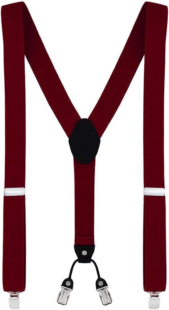 el/ástico y longitud ajustable diferentes estilos DonDon tirantes anchos 3,5 cm para hombres con 4x clips con cuero en forma de Y