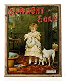 Sunlight Soap Metal Sign Framed on Rustic Wood: Soap, Laundry, and Bathroom Décor Wall Accent