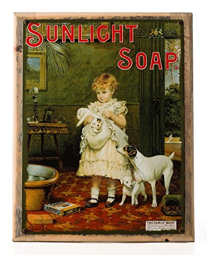 Sunlight Soap Metal Sign Framed on Rustic Wood: Soap, Laundry, and Bathroom Décor Wall Accent by OMSC (Image #7)