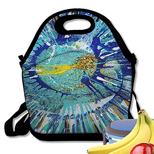 Insulated Neoprene Lunch Bag Abstract Expressionism Painting Gold Fish | Colorful Acrylic Blob Drawing Jackson Pol Reusable Soft Lunch Tote for Work and School