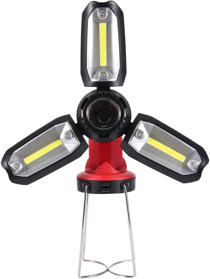Fdit Linterna de Camping LED Recargable Estilo de tr/ébol Plegable Linternas de luz de Trabajo COB port/átiles