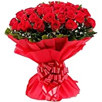 Floralbay Valentine's Day Specail Fresh Flowers Red Rose Bunch in Paper Packing (Bunch of 30)