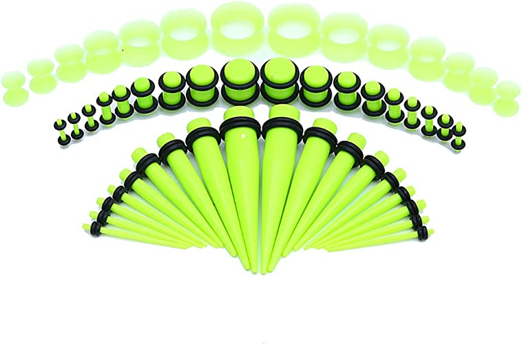 CABBE 50Pcs Ear Gauge Stretching Kit Silicone Tunnels+Acrylic Tapers and Plugs Set Eyelet 14G-00G