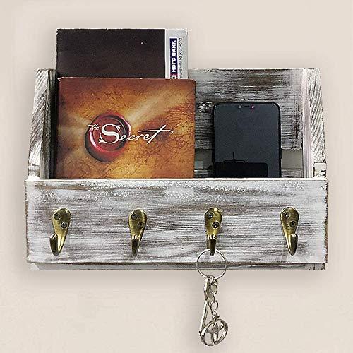A10SHOP Omega W2 Solid Wood Wall Mounted Key Holder, Coat Rack, Magazine Holder & Mail Organizer with 4 Hooks (Barnwood White)