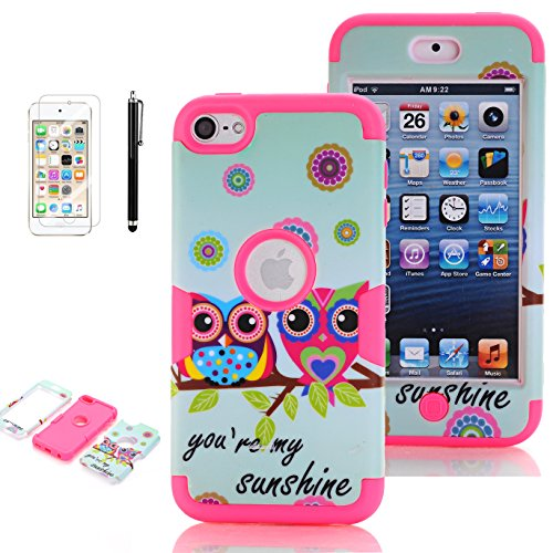 iPod Touch 5th Generation Case, iPod Touch 6 Cases for Girls, VODICO 3 Layer Impact Resistant Hybrid Soft Silicone Hard Plastic Protective Case Cover with Screen Protector+Stylus (Sunshine Rose)