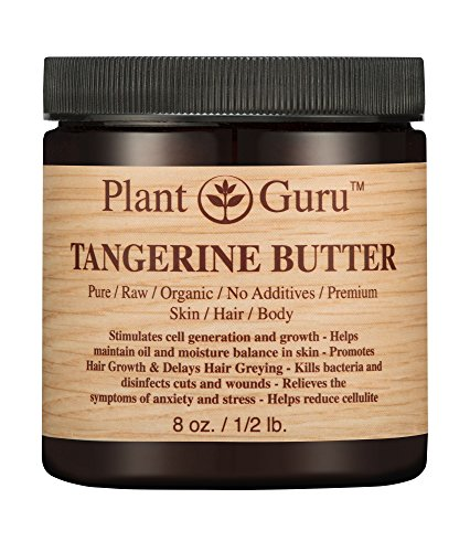 Tangerine Body Butter 8 oz. 100% Pure Raw Fresh Natural Cold Pressed. Skin Body and Hair Moisturizer, DIY Creams, Balms, Lotions, Soaps.
