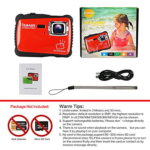 Waterproof Digital Camera for Kids, ishare Update Underwater Camera with 2.0'' LCD, 8X Digital Zoom, 1080p Flash and Mic for Girls/Boys(RED) by ISHARE (Image #6)