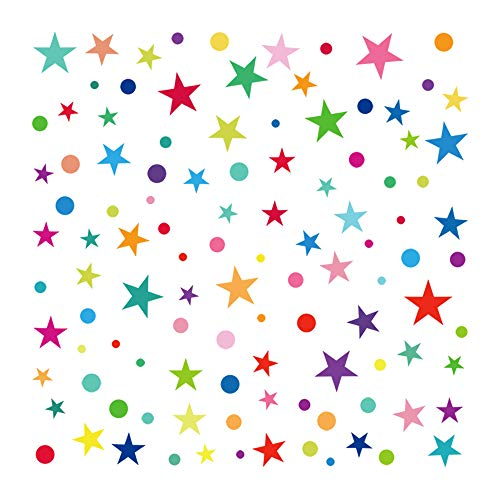 decalmile Rainbow Polka Dot and Star Wall Stickers Kids Room Wall Decor Removable Wall Decals for Baby Nursery Childrens Bedroom Playroom Wall Art