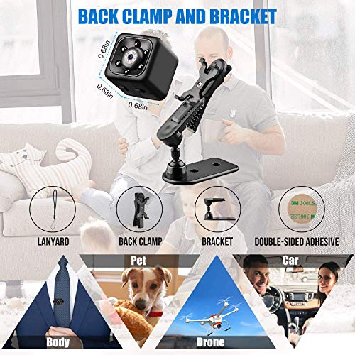 Mini Spy Cameras Hidden Wireless, Full HD 1080P Small Nanny Camera Covert Cop Cam, Micro USB Security Surveillance Camera with Night Vision and Motion Detection Sensor for Home, Office and Car