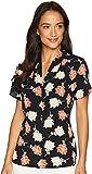 Calvin Klein Women's Printed Short Sleeve V-Neck Top Khaki Multi Large