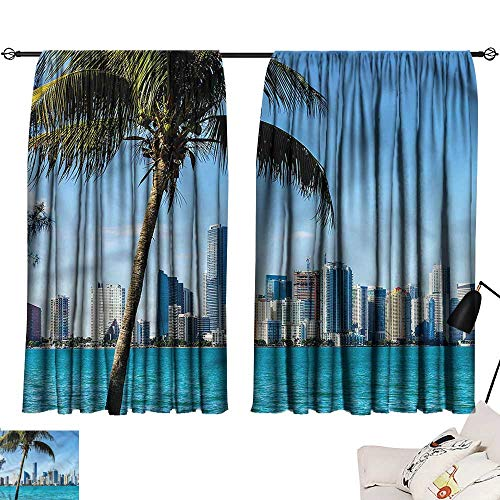 Jinguizi Curtains/Panels/Drapes Darkening Curtains Coastal,Biscayne Buildings in Miami,Design Curtain Decoration W63 x L45 -