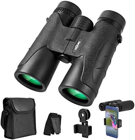 Binoculars for Adults 10×42, Waterproof Compact Binoculars with BAK4 Prism FMC Lens, Portable Binoculars for Bird Watching, Traveling, Stargazing, Hunting, Concerts, Sports