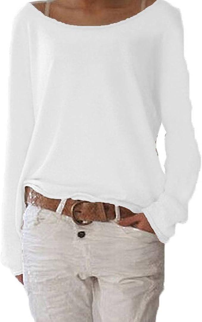 Innerternet Damen Pulli Langarmshirts T-Shirt Rundhals Ausschnitt Lose Bluse Hemd Farbverlauf Pullover Langarmshirts Oversize Sweatshirt Oberteil Tops Shirts