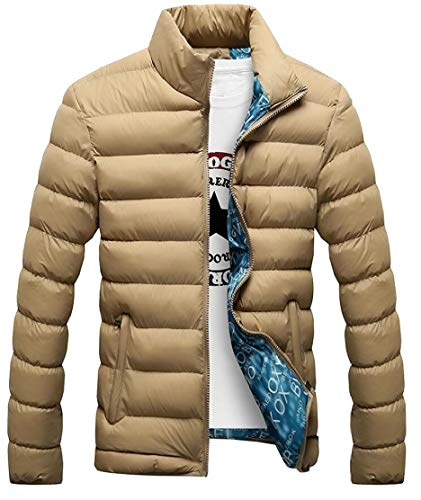 Packable Lightweight Men's Down Khaki Outwear Jacket Collar Puffer Stand Alternative EKU FRnSAqfwA