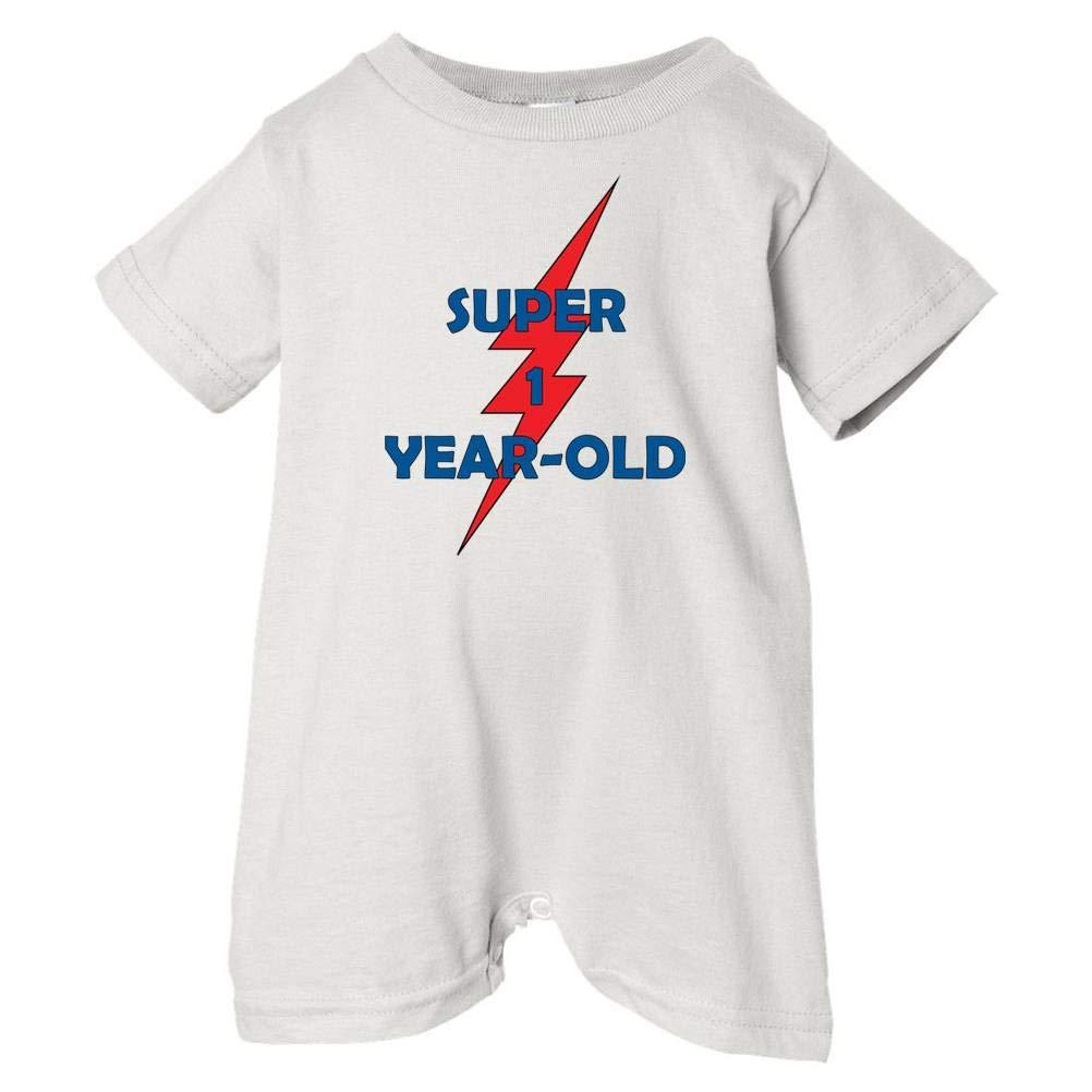 White, 12 Months Festive Threads Unisex Baby Super 1-Year Old T-Shirt Romper