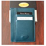 Cuoieria Fiorentina Slim Sleeve Blue Wallet Premium Calf Leather Made in Italy - Holds 10+Cards +Cash - Slim Profile Reduces Wallet Bulk