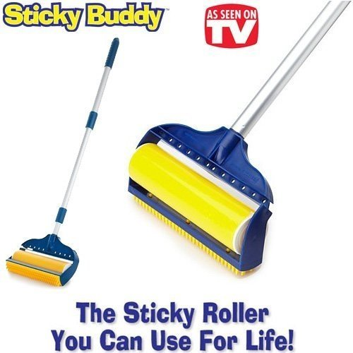 ": Jumbo Sticky Buddy - Reusable Washable Clothes Lint Pet Hair Fluff Remover - 8"" Roller"