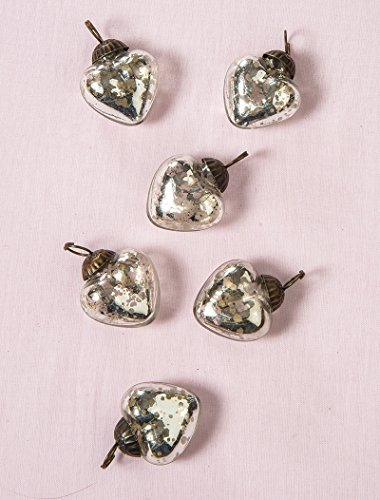 Luna Bazaar Mini Mercury Glass Ornaments (Cora Design, Heart Design, 1-Inch, Silver, Set of 6) - Vintage-Style Decorations