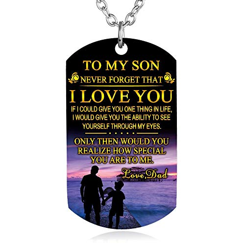 FAYERXL to My Son Daughter Gift Ideas from Dad Mom Colorful Dog Tag Necklace Men Boy Girl Birthday Gift (to My Son ()