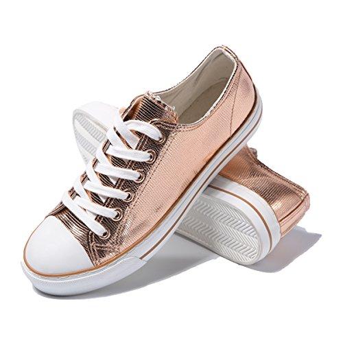AOMAIS Womens Canvas PU Shoes Sneaker Low Top Lace up Fashion Walking Shoes Rose Gold