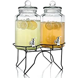 Style Setter Laredo Octagon Double Beverage Dispenser Set with Stand, 1 Gallon Each