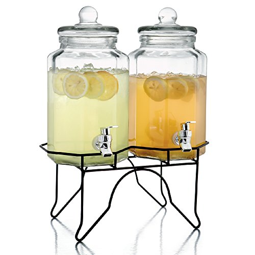 Octagon Beverage Dispenser - Style Setter Laredo Octagon 210927-GB 1 Gallon Each Double Glass Beverage Drink Dispenser Set with Metal Stand, 14x7x16
