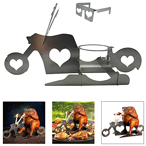 wanjulxl Mortilo Portable Chicken Stand, American Motorcycle Beer BBQ, Stainless Steel Oven Grill Rack Turkey Barbecue Stand for Indoor Outdoor Camping Picnic Garden Party (A-1PC)