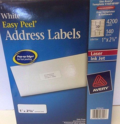 Easy Peel White Inkjet Mailing - Avery Easy Peel White Address Labels for Laser Printers 5160, 1