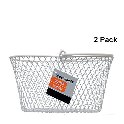 Essentials Wire Basket Storage Baskets for Shelves Small White Metal Wire Baskets for Storage Oval Shape Fruit Basket with Handle Set of 2 Pack