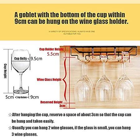 WLABCD Bar Rack Rack Restaurante Montado en la Pared Botella de Vino Taller, Rack de Copa de Vino Al Revés Bajo Gabinete Tambores de Vino Tenedor de Vidrio Percha de Alenamiento,9 Filas