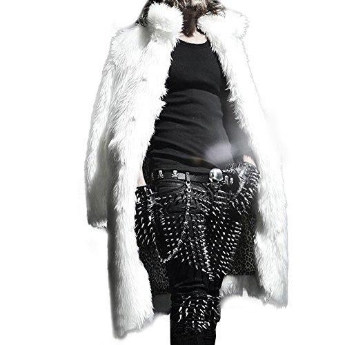 Moserian Mens Winter Warm Thicker Long Coat Jacket Faux Fur Parka Outwear Cardigan - Abercrombie Fur Jacket