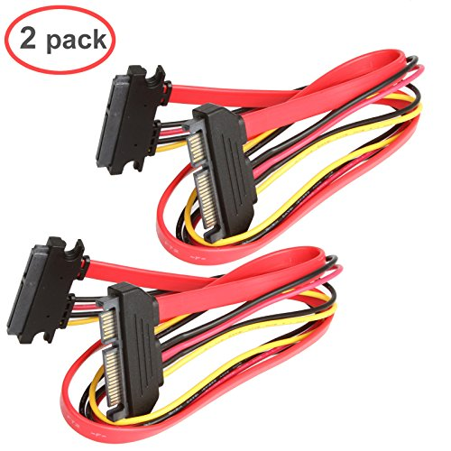 LINESO 2Pack SATA (7+15) 22Pin Male to Female 20Inches (50CM) Data and Power Combo Extension Cable