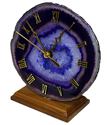 Decorative Agate Desk Clock - Purple (Agate Clock)